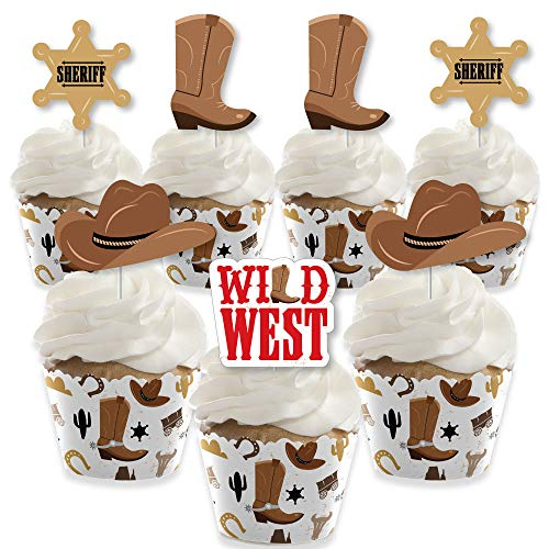 Big Dot of Happiness Western Hoedown - Cupcake Decoration - Wild West Cowboy Party Cupcake Wrappers and Treat Picks Kit - Set of 24