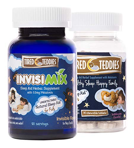 Tired Teddies and Tired Teddies Invisimix Natural Sleep Aid for Kids Melatonin (0.3 mg) Herbal Supplement