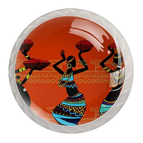 LXYDD Manijas para cajones Perillas para gabinetes Perillas Redondas Paquete de 4 para Armario, cajón, cómoda, cómoda, etc. - Mujer Africana sosteniendo un Plato de Frutas
