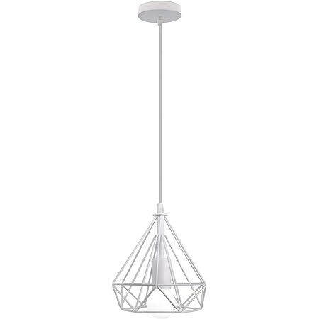 iDEGU Suspension Luminaire Industrielle, 200MM Lampe Suspension Vintage E27 Lustre Plafonnier Abat-jour en Métal Design de Cage de Diamant Éclairage Décoration (Blanc)