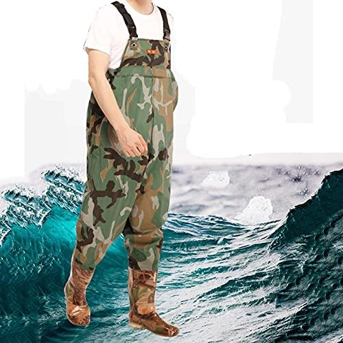 CCCYT Hombre Mujer Vadeadores de Pesca con Botas Impermeables para Pescar Caza Waders Transpirables Ropa Pantalones para Pescador Material Seguro y Duradero