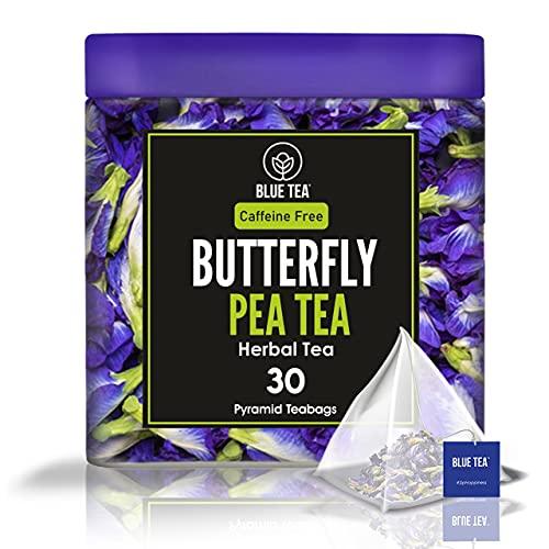 'BLUE TEA - Té de hierbas de cardamomo de flor de guisante de mariposa - 30 bolsitas de té...