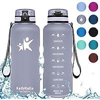 KollyKolla Botella Agua Sin BPA Deportes - 1.5L, Reutilizables Ecológica Tritan Plástico, Bebidas Botellas con Filtro & Marcador de Tiempo, para Al Aire Libre, Tapa Abatible de 1 Clic, Gris Mate