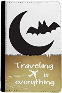 Moon Bat Happy Fear Halloween Traveling quato Passport Holder Travel Wallet Cover Case Card Purse