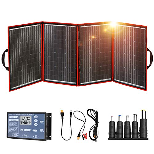 DOKIO 220W 18V Foldable Solar Panel Kit Lightweight(11.7lb, 29x21inch) Monocrystalline(HIGH Efficiency) with Controller USB Output to Charge 12V Batteries (All Types: Vented AGM Gel) RV Camper Boat