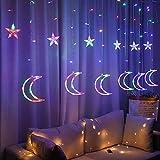 LED Lichterketten, Star Moon LED Vorhang Lichter Girlande Hochzeit Dekorationen für Ramadan, Muslimische Ramadan, Hochzeit, Party, Zuhause, Terrasse, Rasen…