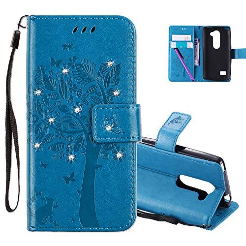 COTDINFOR LG Leon H340N C40 Hülle für Mädchen Elegant Retro Premium PU Lederhülle Handy Tasche mit Magnet Standfunktion Schutz Etui für LG Leon 4G LTE H340N C40 C50 Blue Wishing Tree with Diamond KT.