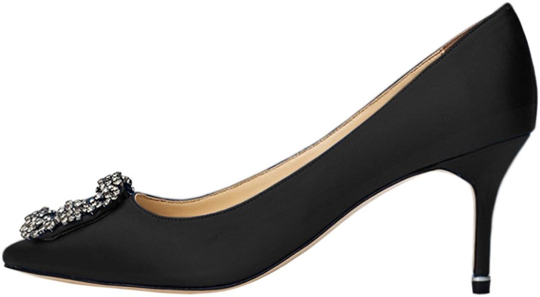 EKS Women Satin Diamonds Middle Heels Pumps Clpsed Toe Party Wedding Black-7cm 7 US