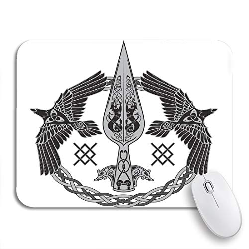 Adowyee Gaming Mouse Pad The Spear of God Odin Gungnir Two Ravens 9.5'x7.9' Nonslip Rubber Backing Mousepad for Notebooks Computers Mouse Mats
