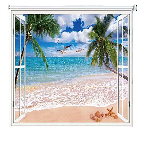 LXF Estores Enrollables Impermeable Cortinas Enrollables para Ventanas en Playa/Mar Paisaje Patrón, Persiana de Oscurecimiento Térmico para Dormitorios/Sala/Baño/Oficina