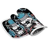 Co5675do Oven Mitts Insulated Kitchen Set Spray Paint Skull Face Graffiti Polyester Oven Mitts Square mat, Heat Resistant Oven Gloves+Pad Kitchen Decor