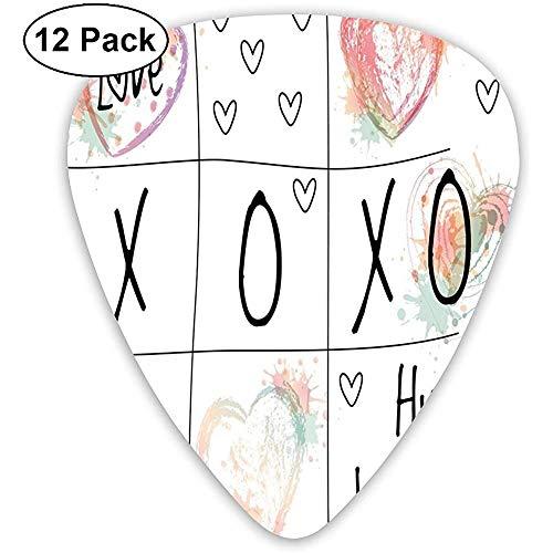 Guitar Picks 12-Pack, Liebe dich Umarmungen Küsse Aquarell Spritzer Herz Symbol Valentinstag Kunstwerk