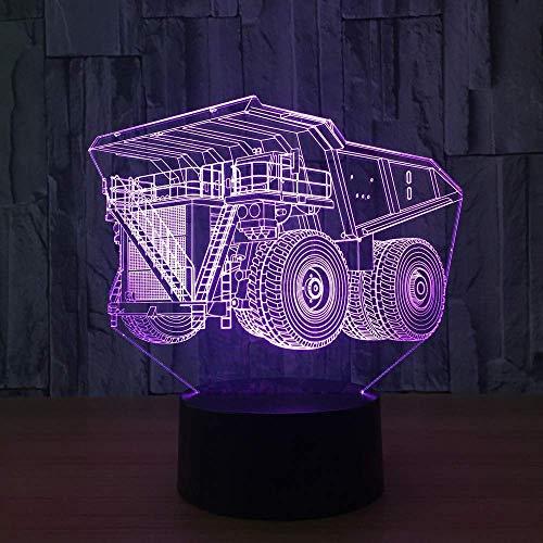 Super Truck Led-nachtlampje met 7 kleuren in 3D Visual Led-nachtlampje voor kinderen, om aan te raken, USB-tafellamp, babyslaap, nachtlampje, sportlamp, nieuw cadeau