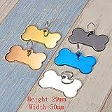 HOUSWEETY Knochen Personalisiert Haustier ID Tag Hund Tag MIT Gravur Service Hundemarke Anhaenger aus Edelstahl 29mmx50mm,Silber - 7