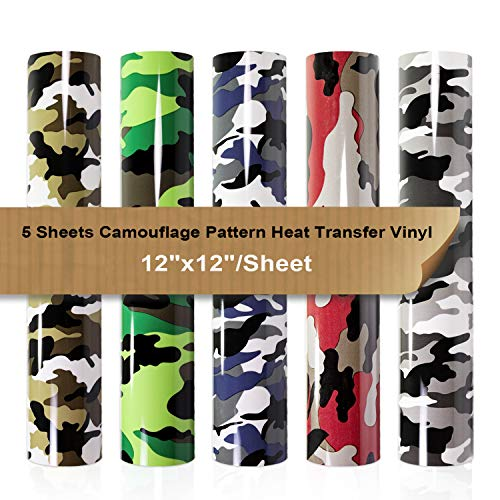 Heat Transfer Vinyl Pack Camouflage Pattern Iron on Vinyl Bundle 5 Sheets 12