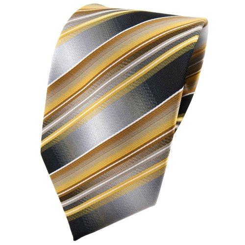 TigerTie TigerTie Designer Krawatte in gold gelb silber anthrazit grau gestreift - Tie Binder