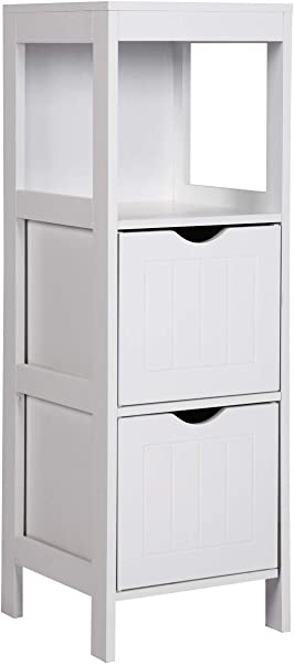 Wooden Bathroom Floor Cabinet Side Storage Organizer Cabinet With 2 Removable Drawers Entryway Spacesaver White