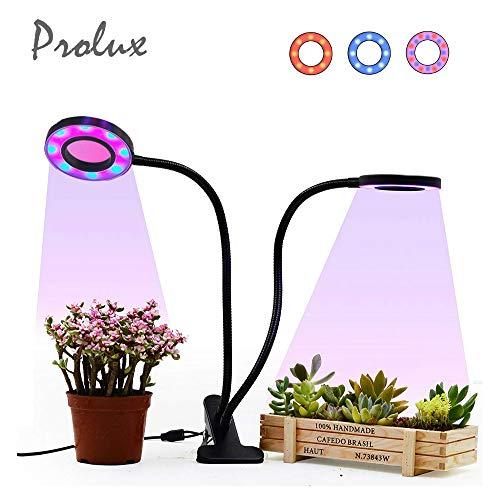 Luxvista Multifunción 2 Cabezales Regulable USB Led Lámpara Cultivo Interior para Crecimiento de Plantas, Cuello de cisne ajustable, temporización circlo 24H(3 colores de iluminación, 5 Modos Brillo)