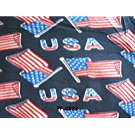 """Patriotic Flag Anti Pill Premium Fleece Fabric, 60"""" Inches Wide – Sold By The Yard"""