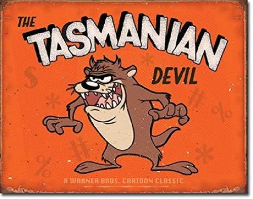 PixDecor Tasmanian Devil Looney Tunes Cartoon Weathered Retro Wall Decor Metal Tin Sign 8x12in Retro Metal Vintage Sign
