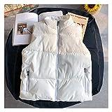 Chaleco de Chaleco de Chaleco de Hombre Casual para Hombre Chalecos de Chaqueta con Cremallera Blanca Chaqueta sin Mangas de Ropa Exterior Chaleco (Color : White, tamaño : XX-Large)