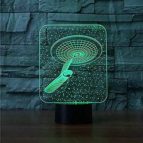 Kreatives Kindergeschenk USB 7 Farben 3D Neuheit Star Trek Tischlampe LED Alien Luftschiff Nachtlicht Schlafbeleuchtung Schlafzimmer Nachttischdekoration Beleuchtung Zubehör