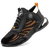 PAQOZKC Zapatos de Seguridad Hombre Mujer Ligeros Zapatos de Trabajo con Punta de Acero Transpirables Calzado de Industrial y Deportiva(780/orange/40)
