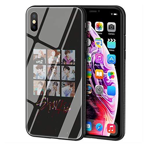 Custodia per Telefono for iPhone 7 Plus/8 Plus Cover,Vetro temperato Morbido Bumper in Silicone AntiGraffio Paraurti Custodia LB-64 Stray Kids KPOP Phone Case