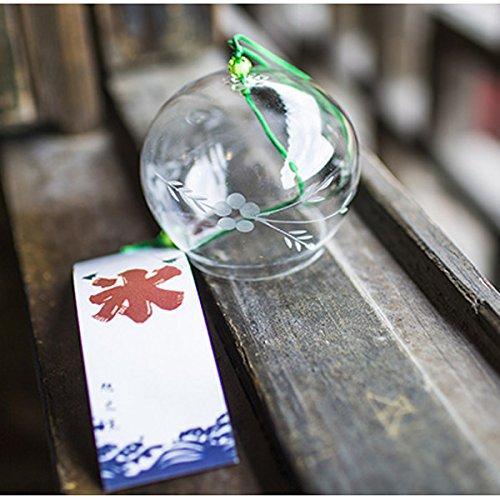 Campanas de viento japonesas hechas a mano de vidrio para decoración del hogar, decoración de cocina, spa, decoración de jardín, decoración de ventanas (flor de sauce)