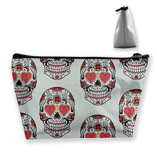Sugar Skull Mexico Mexican Portable Travel Makeup Bags Toiletry Bag Pen Organizers With Zipper