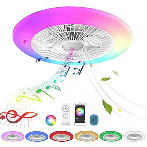 Bluetooth Lampara Ventilador Techo con Luz y Mando a Distancia RGB Música Altavoz Inspire Colores Silencioso Plafon LED Ventilador de Techo Luces Regulable Iluminación Infantil Juvenil Dormitorio