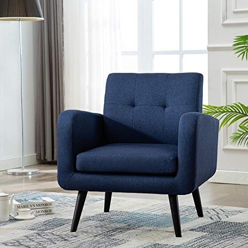 Mid Century Modern Fabric Arm Chairs for Living Room, Living Room Chairs, Accent Chair, Blue, Set of 1
