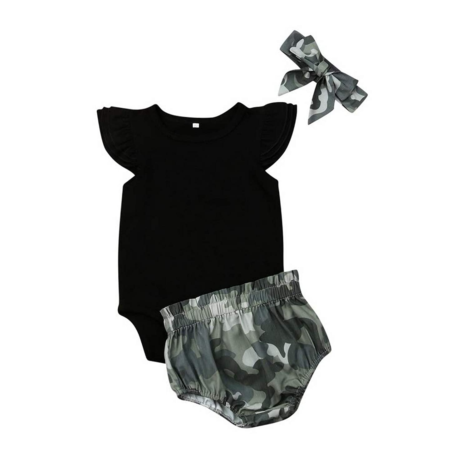 Fashion Cute 3PCS Cute Newborn Baby Girl Outfits Clothes Tops Romper+Camo Shorts Pants Set