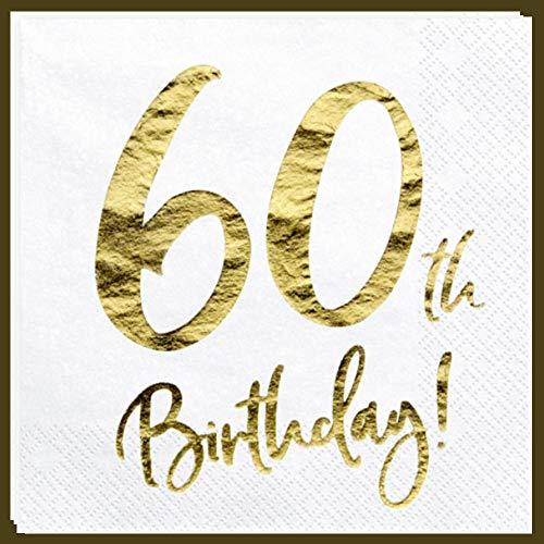 Libetui Servietten 60. Geburtstag Party Servietten '60th Birthday' Deko Geburtstagsparty 60 Jahre Servietten (60. Geburtstag)