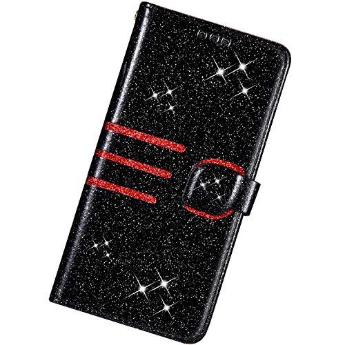 KunyFond compatibel met Samsung Galaxy A50, Bling Glitter PU lederen hoesje Zwart