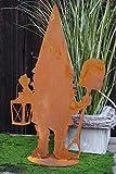 Edelrost Gartenzwerg Gustl mit Laterne und Schaufel 35x21cm, inkl. Herz 8x6cm Dekoration Wichtel