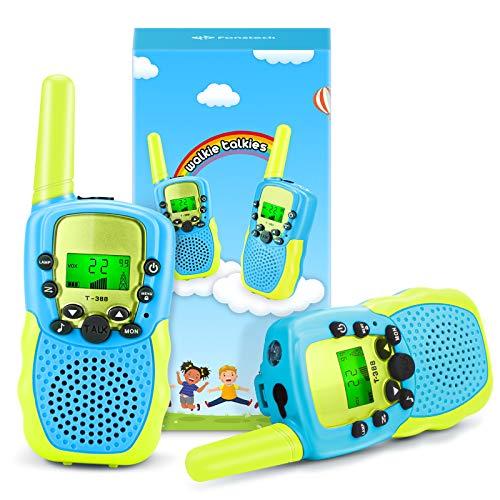 Fansteck 2er Walkie Talkies für Kinder, Funkgeräte Set mit Taschenlampe & Seile, 8 Kanäle 3KM Reichweite, Spielzeug ab 3 4 5 6 7 8 9 Jahre für Kinder Mädchen Junge als Polizeispiel