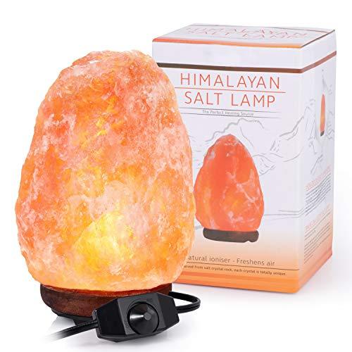 Lampada di Sale dell'Himalaya, SUNNEST Lampada di Sale Himalayano 2-3 kg Rosa Naturale con base in legno