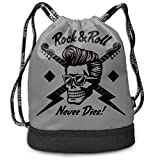 nbvnc Mochila con cordón,Rock N Roll Skull with Rockabilly Hairstyle Drawstring Bag Funny...