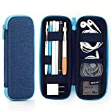 ANGOOBABY Pencil Holder Case for Apple Pencil EVA Hard Shell Pen Pencil Case for iPad Pro USB Cable Earphone Fountain Pen Dark Blue