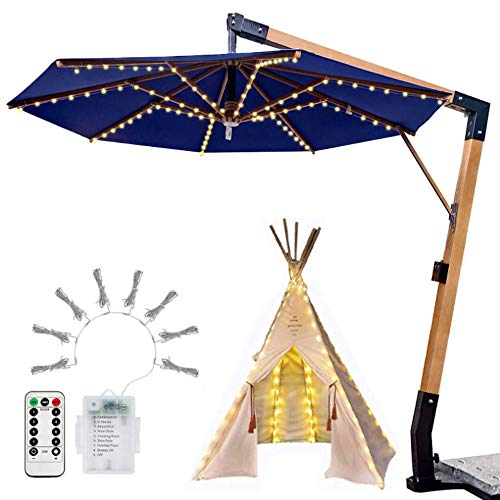 FTYU Patio Umbrella Light Parasol Lights Firework Garden Lights Battery Operated Waterproof Hanging Light Remote Control Starburst Copper Wire Fairy String Lighting for Outdoor Indoor Decorations
