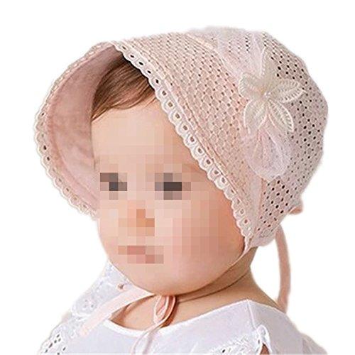 Hippolo Baby-Prinzessin Stickerei Spitze Bogen Kappenhülse Atmungs Baby Kopfbedeckung (Pink)