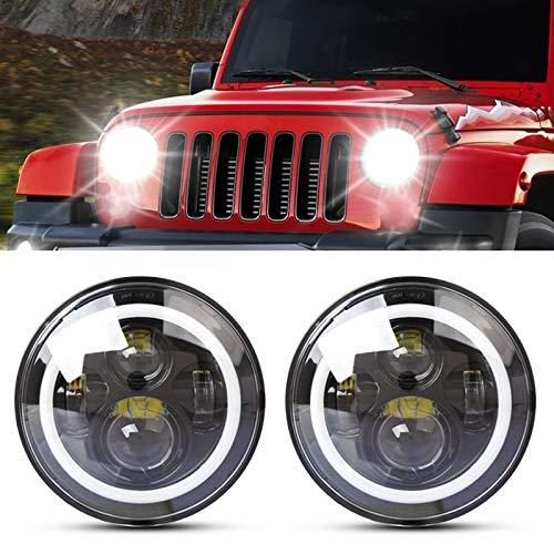 2 PCS 75W Cree LED Fariture Hi/Lo Beam Lámpara de conducción para Jeep Wrangler JK TJ LJ, 7 Pulgadas IP68 Impermeable 6500k