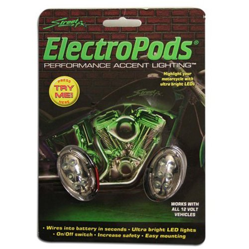 Street FX 1041903 ElectroPods Green/Chrome Motorcycle Oval Pod, (Pack of 2)