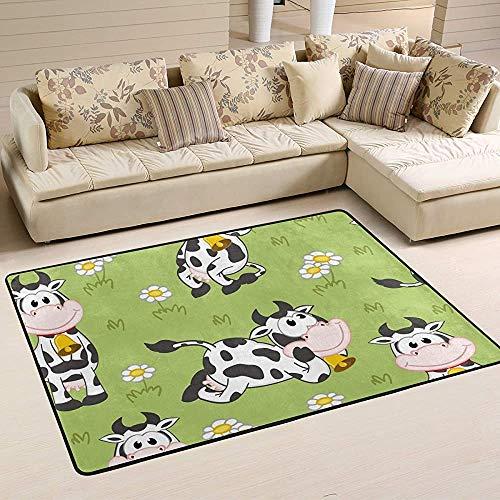 Fun-World Area Rug Tapis de Vache drôle Tapis coloré Moderne pour Salon Chambre à Coucher Tapis de Chambre de bébé Lavable en Machine,150X100Cm