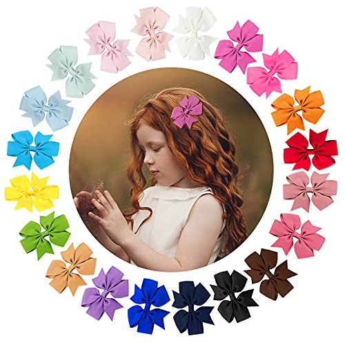 URAQT Lazos de Pelo de Grogrén, 40 Piezas Clips de Cinta de Grogrén para el cabello, Horquillas Niña Bebé, Multicolor Clips de Pelo para Adolescentes Niños Pequeños