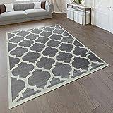 Paco Home Designer Teppich Marokkanisches Muster Kurzflorteppich Modern Trend Grau Weiß, Grösse:60x100 cm