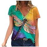 YANFANG Blusa de Camiseta con Cuello en V con Estampados de Manga Corta de Talla Grande para Mujer Casual Verano Basica Buen Juego, Yellow,5XL