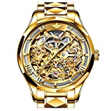 Swiss Brand Skeleton Automatic Mechanical Men Watches Gold Face Self Winding Sapphire Crystal Luxury Dress Stainless Steel Waterproof Two Tone