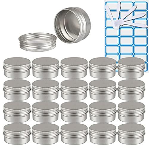 ZEOABSY100 Piezas Tarros de Aluminio con Tapa Rosca 30ml,Plata Tarros de Aluminio Vacíos Redondo para Contenedor De Cosméticos CremasCaja de almacenaje con10 Espátula y 4Etiqueta